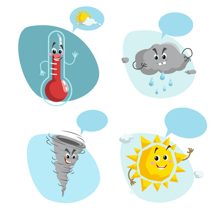 Cartoon weather characters set. Friendly sun, raindrop cloud, smiling thermometer mascot and funny tornado. Speech bubble with sun and clouds. Vector illustration icons collection.