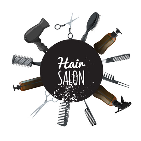 Hair and beauty salon poster with black circle and hair accessories. Professional hairdressers tools. Vector illustrations isolated on white background.