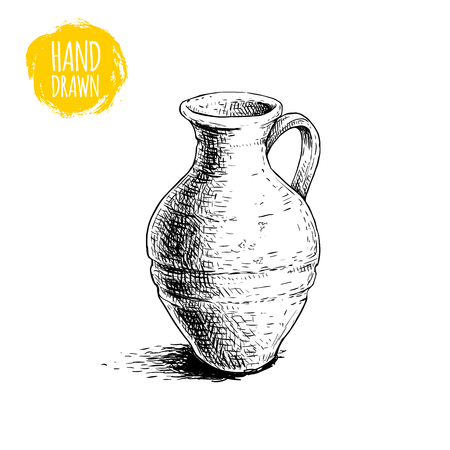 Hand drawn sketch style medieval jug. Ancient jug vector illustration. Isolated on white background. 版權商用圖片 - 103444828