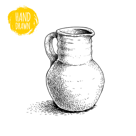 Hand drawn sketch style medieval jug. Ancient jug vector illustration. Isolated on white background.