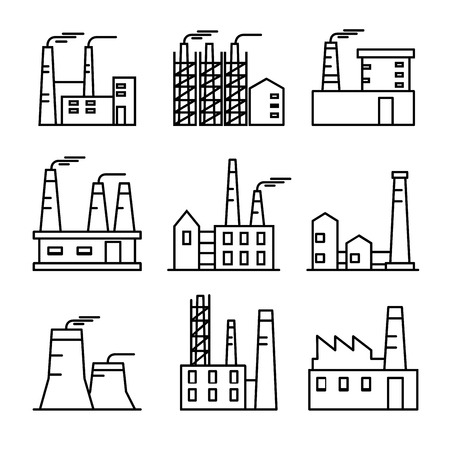 Industrial buildings thin line icons set. Plant and factrories. Heavy industry power and nuclear plants. Standard-Bild - 103444831