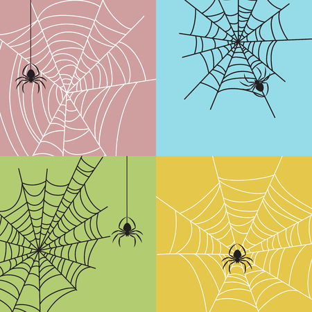 Spiderweb with spiders set. Colorful backgrounds. Shape of insects. Halloween party design elements.