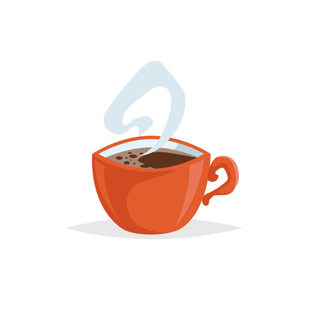 Cartoon style cup with hot coffee. Trendy  decorative design. Great for cafe menu. Red mug with steam. Vector illustration.