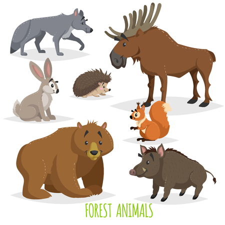 Cartoon forest animals set. Wolf, hedgehog, moose, hare, squirrel, bear and wild boar. Funny comic creature collection. Vector educational illustrations.