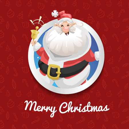 Happy Santa Claus in costume ringing bell and smiling. Christmas poster or banner. Cartoon style. Red pattern with icons background. Vector illustration.  イラスト・ベクター素材