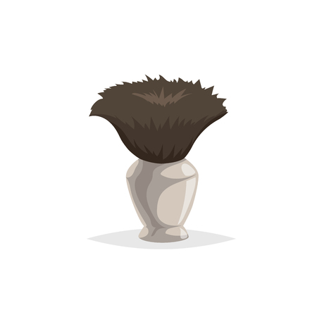 Cartoon style shaving brush. Mens health and beauty care object. Comic trendy design flat style. Vector illustration isolated on white background.