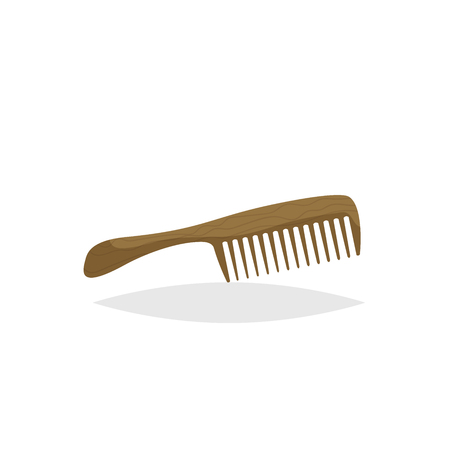 Wooden beard and hair comb with handle. Cartoon flat style. Barber shop accessory. Vector illustration isolated on white background.