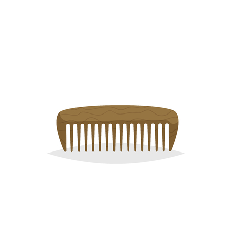 Wooden beard and hair comb. Cartoon flat style. Barber shop accessory. Vector illustration isolated on white background.