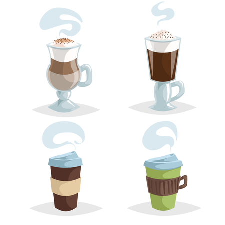 Cartoon coffee mugs or cup set. Collection of trendy design colorful coffee icons. Irish cream, cappuccino and take away cups. Vector illustrations.