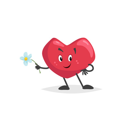 Cartoon heart character. Falling in love mascot with flower. Valentines day symbol. Love and romantic vector comic illustration.