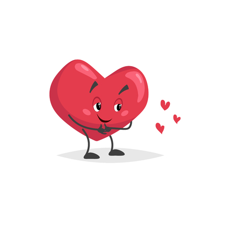Cartoon heart character. Shy mascot looking at little hearts. Valentines day symbol. Love and romantic vector comic illustration. Иллюстрация