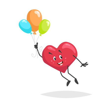 Cartoon heart character. Happy boy mascot flying with colorful baloons. Valentines day symbol. Love and romantic vector comic illustration.