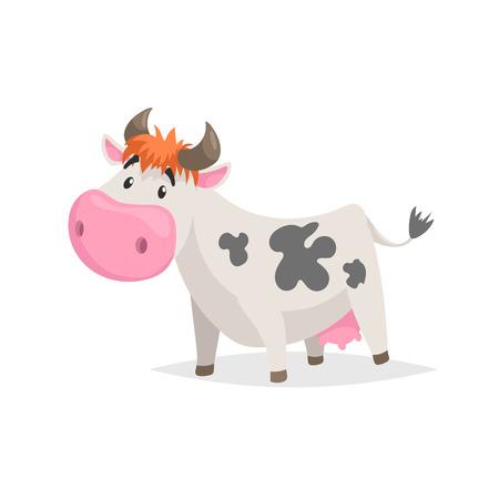 Cartoon weiß gefleckte Kuh. Lustiges Tier des Bauernhofes lokalisiert auf weißem Hintergrund. Flacher trendiger Stil. Vektor-Illustration. Vektorgrafik