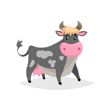 Cartoon black spotted cow. Farm funny animal isolated on white background. Flat trendy style. Vector illustration. Illustration