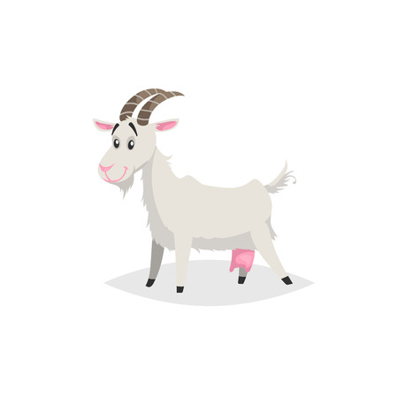Cute funny goat. Cartoon flat style trendy design farm domestic animal. Vector illustration isolated on white background.