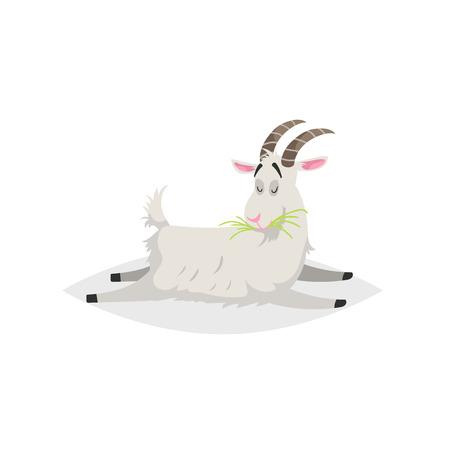Ładny zabawny koza. Kreskówka płaski modny design gospodarstwa zwierzę domowe. Kłamie i żuje świeżą trawę. Ilustracja wektorowa na białym tle. Ilustracje wektorowe