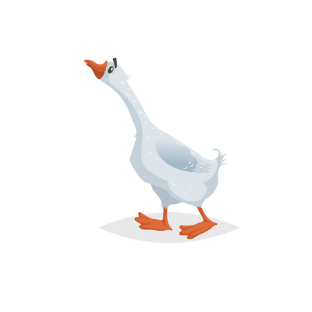Cute funny goose. Cartoon flat style comic style. Happy domestic farm bird with long neck. Vector illustration isolated on white background. Иллюстрация