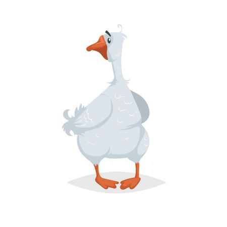 Oie drôle mignonne. Style comique de style plat de dessin animé. Oiseau de ferme domestique heureux regardant autour. Illustration vectorielle isolée sur fond blanc. Vecteurs
