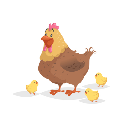 Cartoon funny brown hen with little yellow chickens. Comic trendy flat style with simple gradients. Mother and family vector illustration. Isolated on white background. Иллюстрация