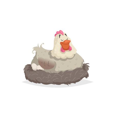 Gallina bianca felice del fumetto che si annida. Maternità, illustrazione di Pasqua. Piatto con un design semplice a gradienti. Arte vettoriale isolato su sfondo bianco.