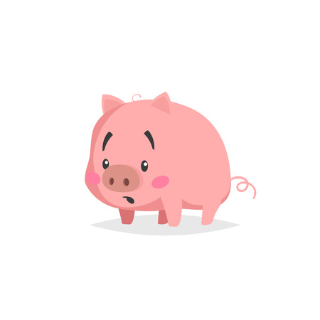 Cartoon cute pig. Confused or surpised little piglet with funny face. Domestic animal character. Vector illustration isolated on white background.