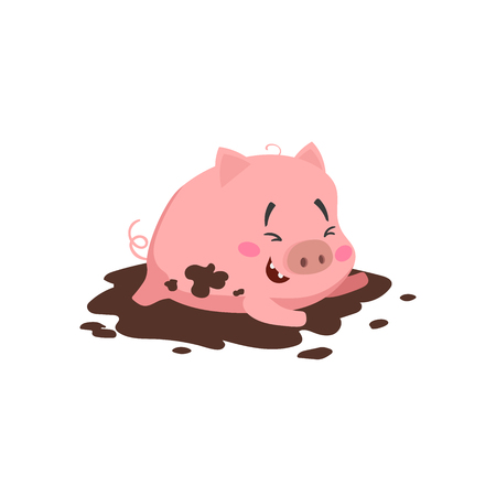 Cartoon cute pig. Little piglet laughing and  playing in mud puddle. Domestic animal character. Vector illustration isolated on white background.