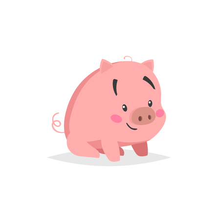 Cartoon cute pig. Sitiing and smiling little piglet with funny face. Domestic animal character. Vector illustration isolated on white background. Illustration