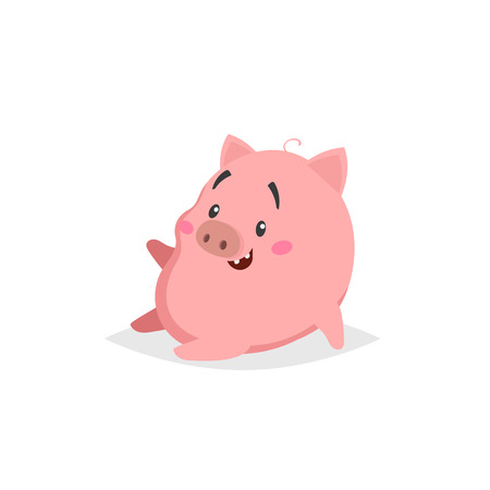 Cartoon cute pig. Sitiing and laughs little piglet with funny face. Domestic animal character. Vector illustration isolated on white background.