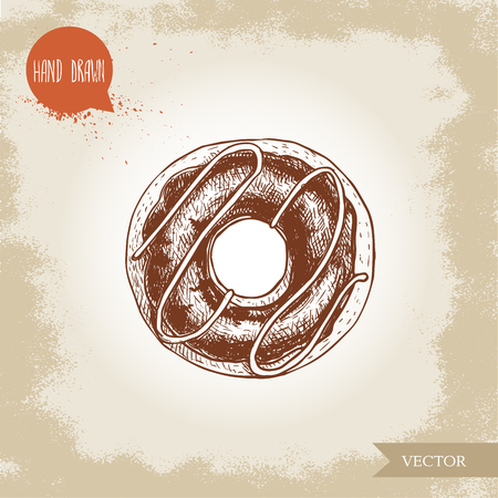 Hand drawn sketch style donut with chocolate cream and icing decoration. Vector illustration isolated on old background. Иллюстрация
