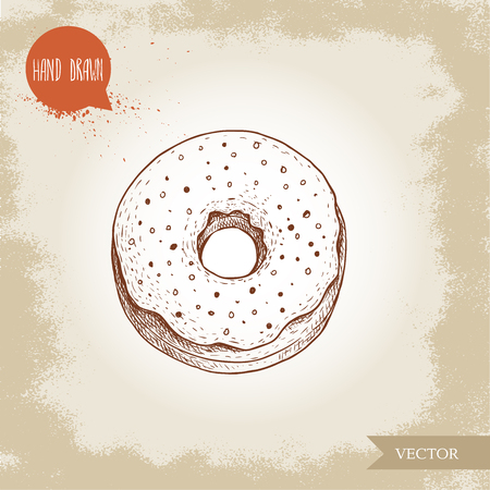 Hand drawn sketch style donut with sprinkles. Bakery good top view with icing cream. Vintage sweet pastry vector illustration. Isolated on old background. Banco de Imagens - 126178213