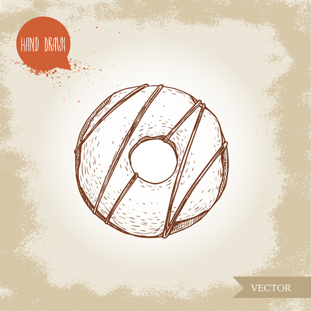 Hand drawn sketch style donut with sprinkles. Bakery good top view with icing cream and chocolate. Vector illustration isolated on old background. Иллюстрация