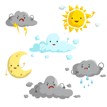 Cartoon weather mascots set. Comic anime style characters. Sun, clouds, rain, crescent, thunderstorm. Vector illustrations isolated on white background.