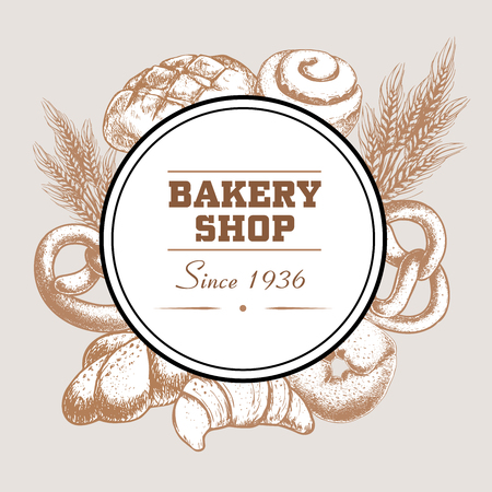 Bakery shop poster with fresh baked bread loaf, pretzel, croissant, bagel, cinnamon iced bun and wheat. Sketch style hand drawn design for local bread shops. Vector illustrations.  イラスト・ベクター素材