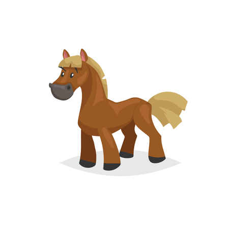 Cartoon horse standing. Brown horse with yellow gold mane. Farm purebred animal for kids education. Vector illustration isolated on white background.
