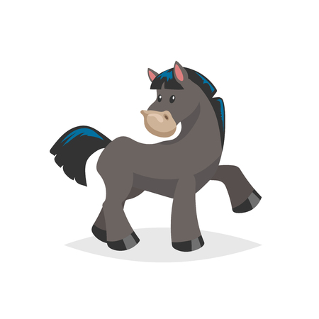 Cartoon cute black horse. Farm animal vector illustration isolated on white background. Trendy flat design.