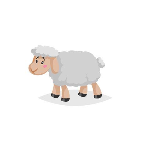 Cartoon sheep. Wooly cute farm animal stay. Vector trendy design illustration isolated on white background.
