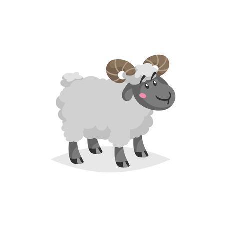 Ram de dessin animé avec des cornes. Séjour animal de ferme mâle mignon laineux. Illustration de design tendance vecteur isolé sur fond blanc. Vecteurs