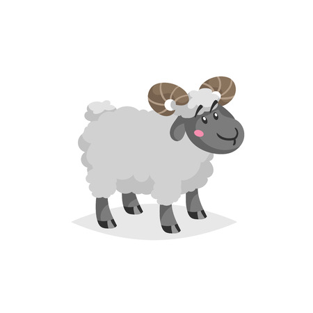 Cartoon ram with horns. Wooly cute male farm animal stay. Vector trendy design illustration isolated on white background.