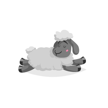 Cartoon sheep sleeping or relaxing. White wool and black skin cute farm animal lie. Vector trendy design illustration isolated on white background.