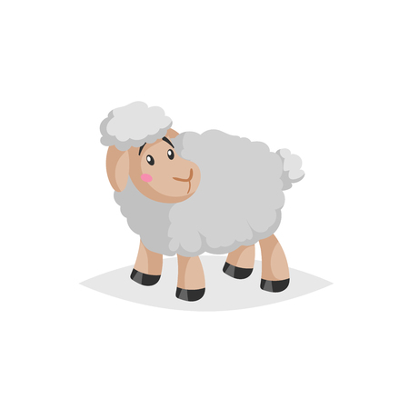 Cartoon sheep looking around. Wooly cute farm animal stay. Vector trendy design illustration isolated on white background.