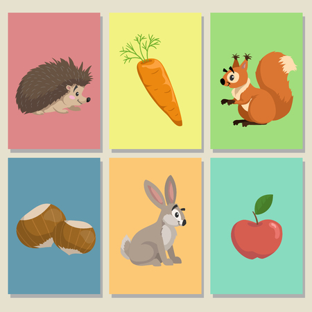 Mini game cards. Cute animals and their food. Hedgehog, apple, squirrel and hazelnuts, hare (bunny) and carrot. Educational illustrations of forest animals. Vector pictures