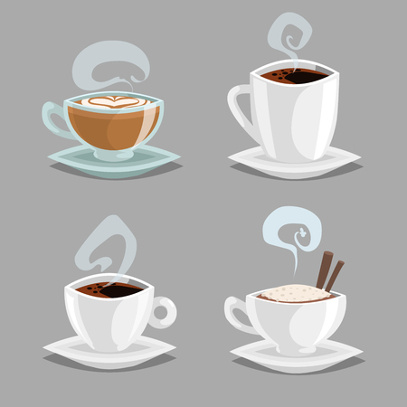 Cartoon set of different coffee cups. White and clean glass cups with cappuccino, black coffee, latte with heart draw milk cream. Vector illustrations isolated on grey background.