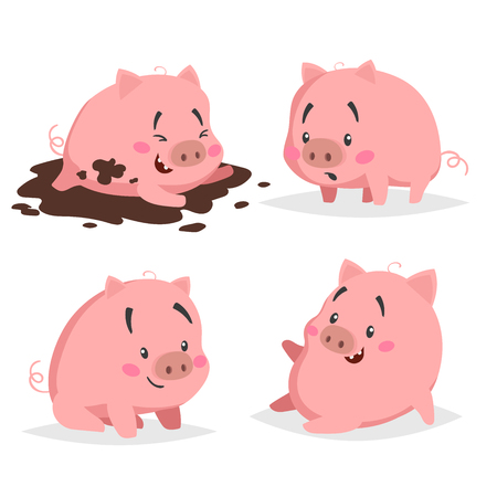 Nette Ferkel eingestellt. Kleines Schwein in Pfütze, überrascht, sitzend und entspannend. Cartoon flaches Design Nutztiere Sammlung. Vektor-Illustration für Bildung oder andere Bedürfnisse auf weißem Hintergrund. Vektorgrafik