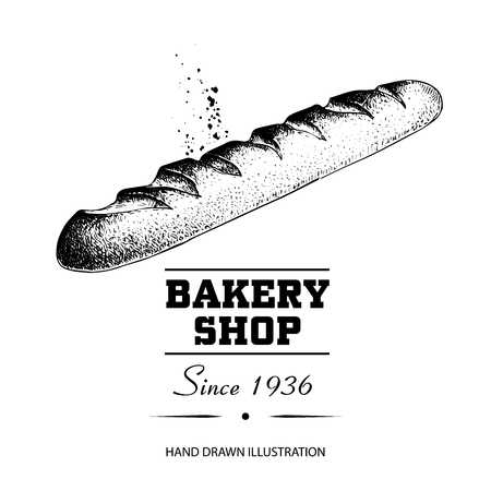 Baguette bread sketch drawing. Hand drawn sketch style bakery shop product. Fresh morning baked food vector illustration for menu design, labels and packaging. Isolated on white background.