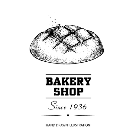 Bread bun sketch drawing. Hand drawn sketch style bakery shop product. Fresh morning baked food vector illustration for menu design, labels and packaging. Isolated on white background.  イラスト・ベクター素材