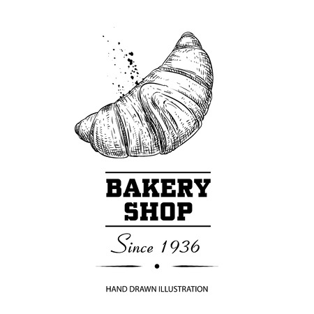Bakery shop poster. Fresh baked croissant hand drawn sketch style. Traditional morning breakfast product. Vector illustration for menu design, labels and packaging. Isolated on white background.
