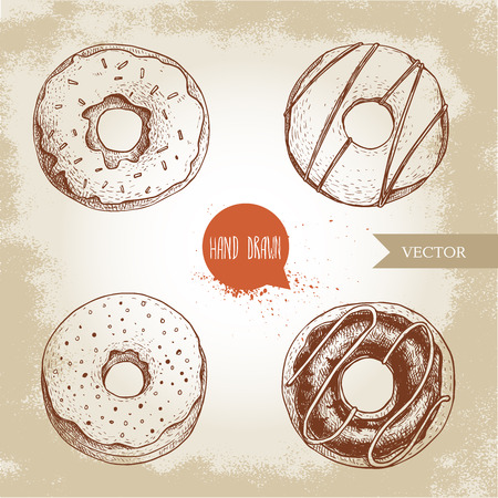 Sweet dessert donuts. Hand drawn sketch style illustration. Glazed, iced sweet doughnut with chocolate. Fresh bakes. Isolated on olf background.