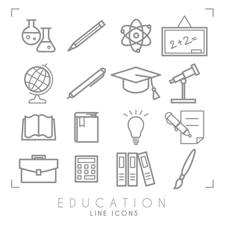 Outline thin black and white icons set. Education collection. Chemisrty, physics, mathematics, geography, astronomy and paint. Vector objects and symbols.