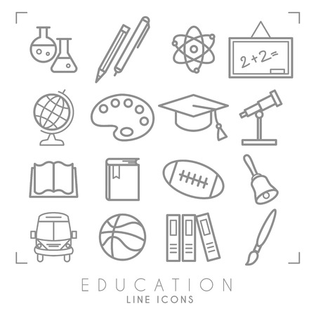 Outline thin black and white icons set. Education collection. Chemisrty, physics, mathematics, geography, astronomy, sport games and paint. Vector objects and symbols. Standard-Bild - 124106594