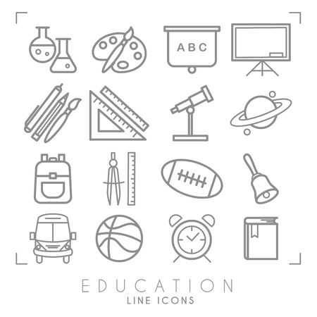 Outline thin black and white icons set. Education collection. Chemisrty, physics, mathematics, geography, astronomy, sport games and paint equipment, school bus and alarm clock. Vector objects and sym  イラスト・ベクター素材